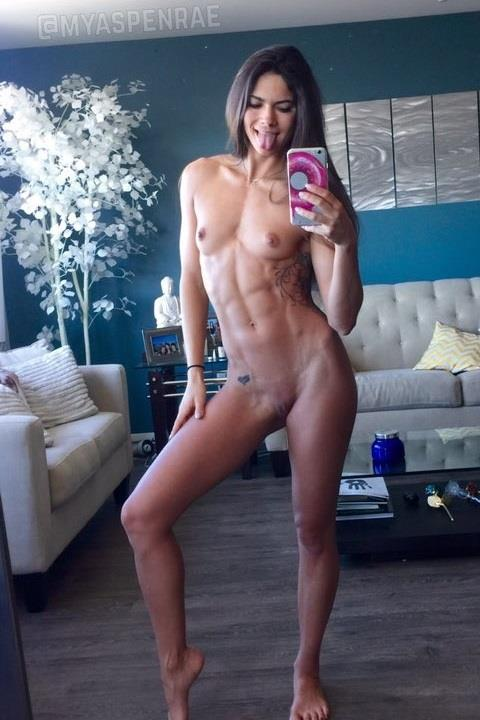 Aspen Rae taking a selfie and - breasts