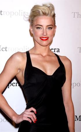 Amber Heard attending the Metropolitan Opera Gala premiere of Manon in New York on March 26, 2012