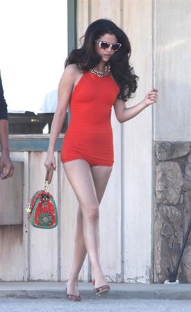 Selena Gomez - music video set candids in LA 3/4/13