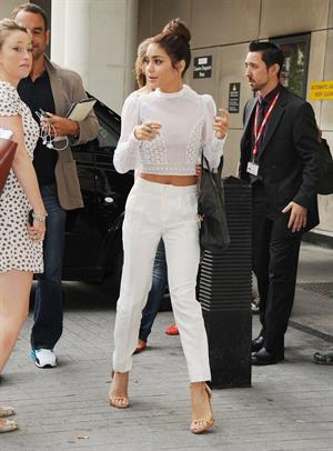 Vanessa Hudgens arriving at BBC Radio 1 in London on July 16, 2013